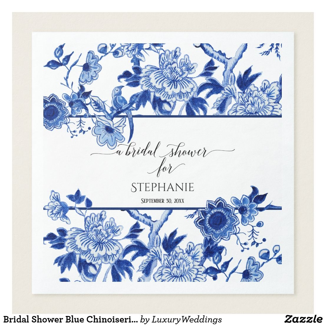 Bridal Shower Blue Chinoiserie Floral Watercolor Paper Dinner