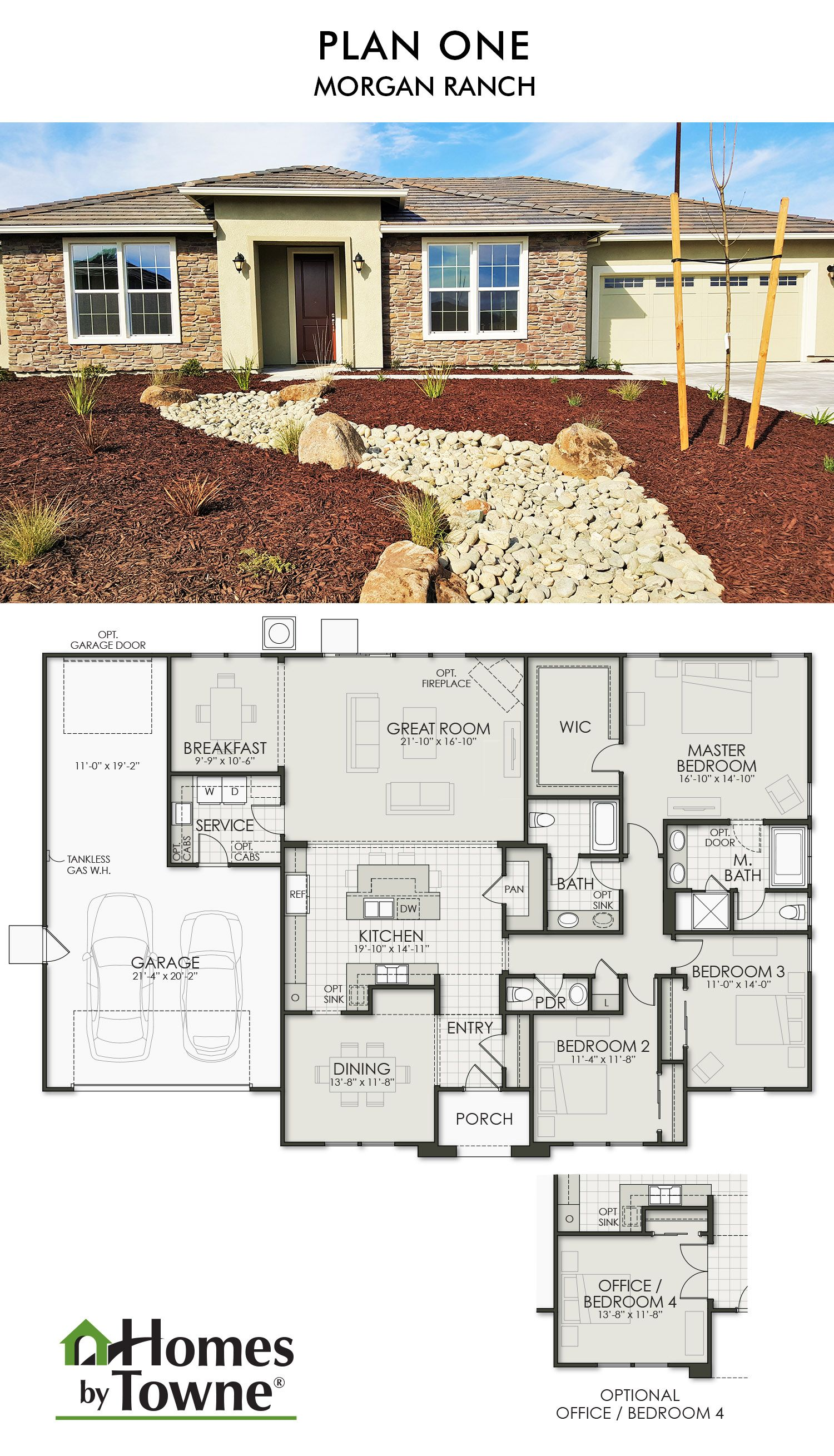 Plan one morgan ranch roseville california homes by towne for California ranch floor plans