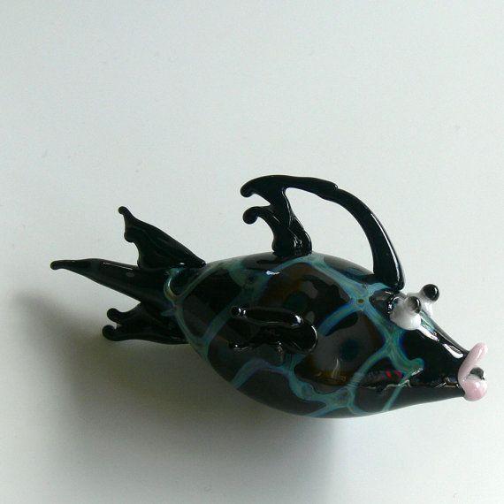 Blown Glass Fish Ornament - Black Henna Fish