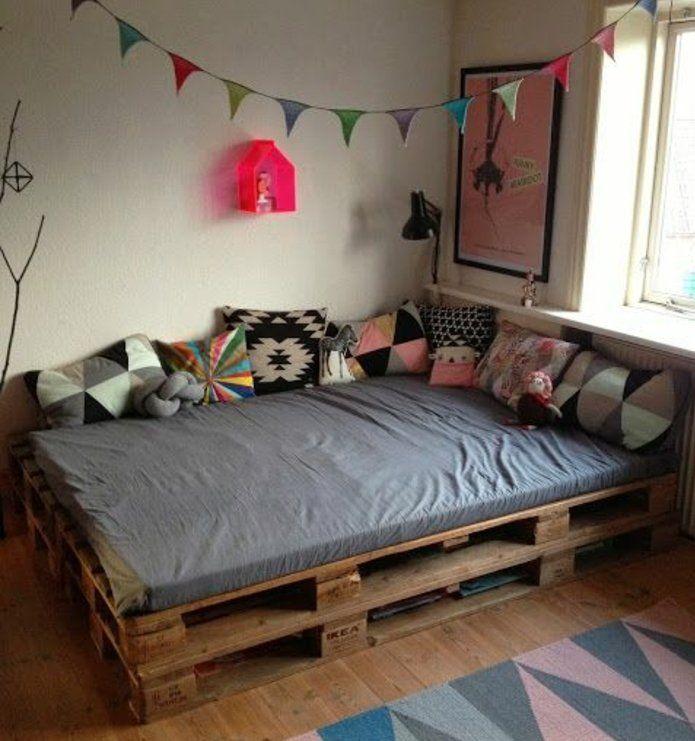 comment faire un lit en palette 52 id es ne pas manquer home d co pinterest lit en. Black Bedroom Furniture Sets. Home Design Ideas
