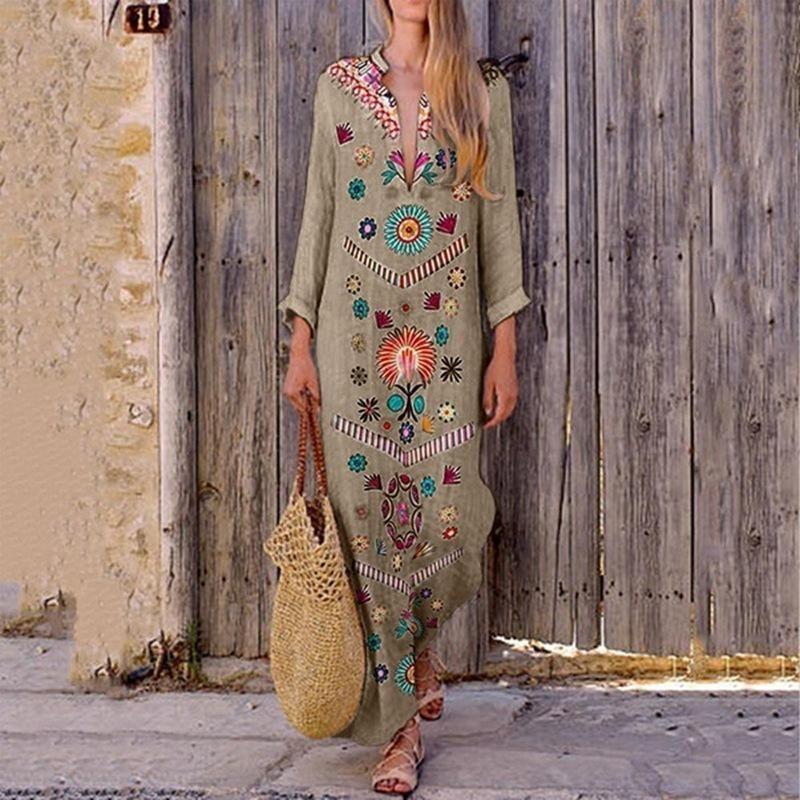 Damen O Neck Long Arm Kleid Maxikleid Lässig Vintage Lange Baggy Tunika Kleider