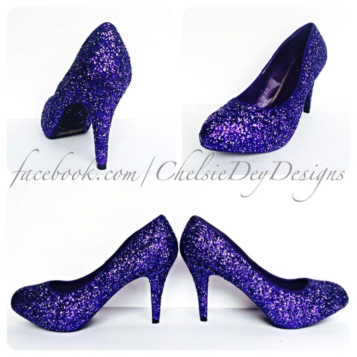 Purple Silver Glitter Low Heels Eggplant Royal Purple Pumps