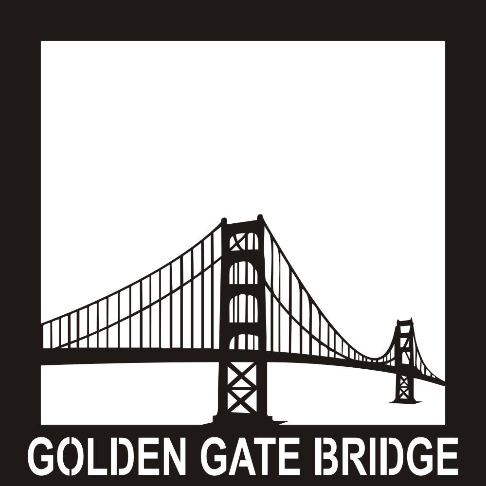 Printable coloring pages golden gate bridge - Want2scrap Golden Gate Bridge 12x12 Overlay Scrapbook Laser Design Page