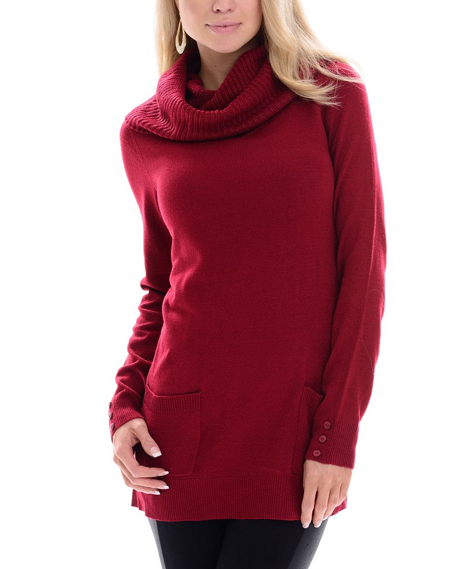 This Red Pocket Cowl Neck Sweater by Maglia is perfect ...