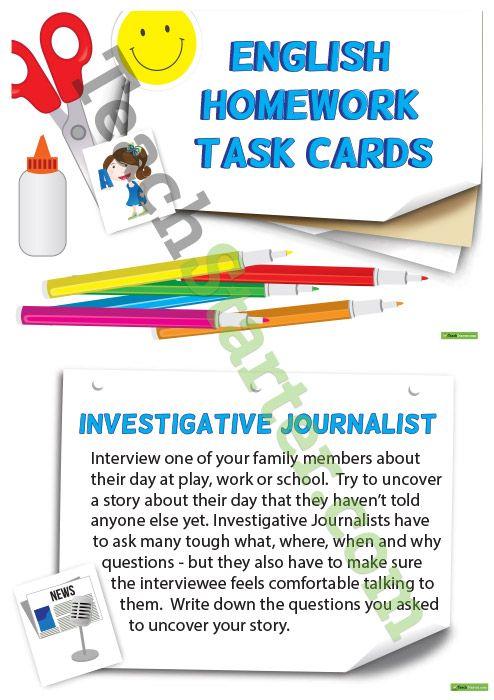 English Homework Task Cards - Upper Primary Teaching Resource ...