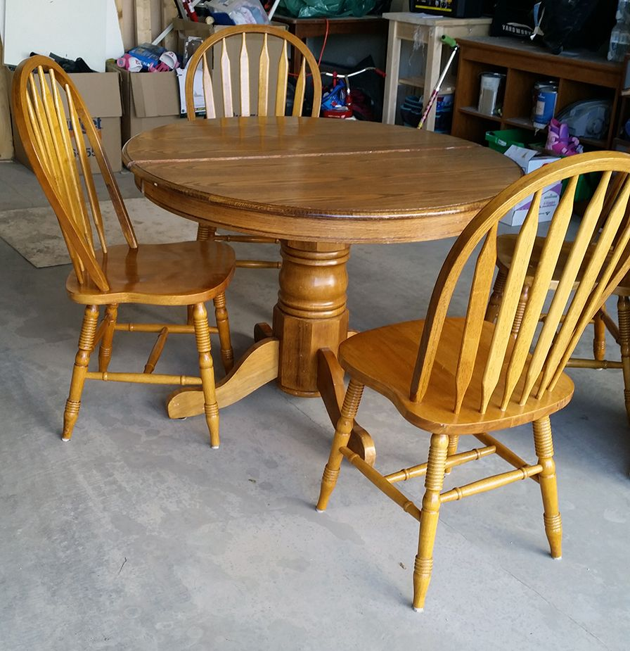 90s oak table makeover 50th kitchens and paint furniture for Oak dining table set