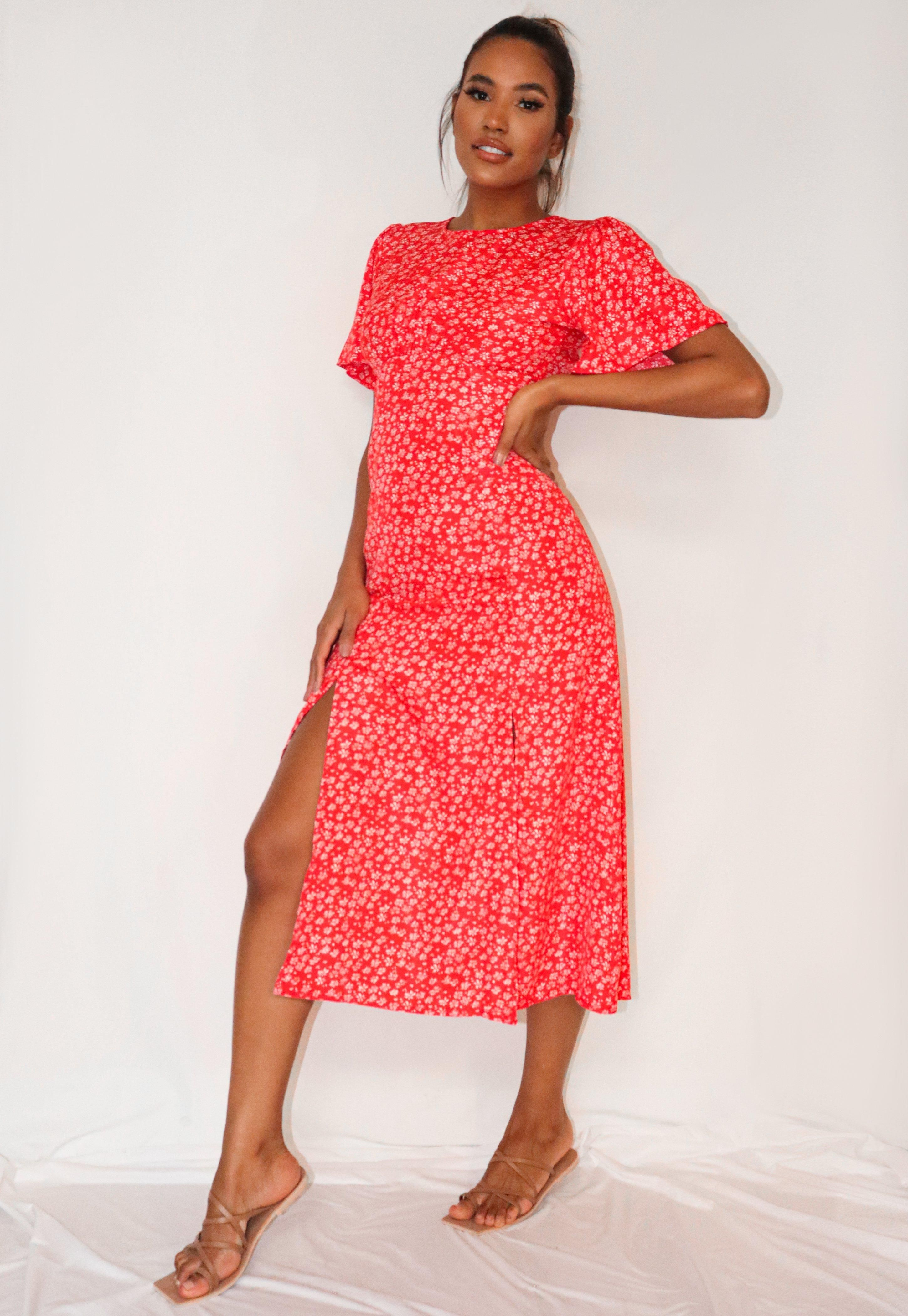 Red Ditsy Floral Print Flutter Sleeve Midi Dress Sponsored Floral Sponsored Print Red [ 4200 x 2900 Pixel ]
