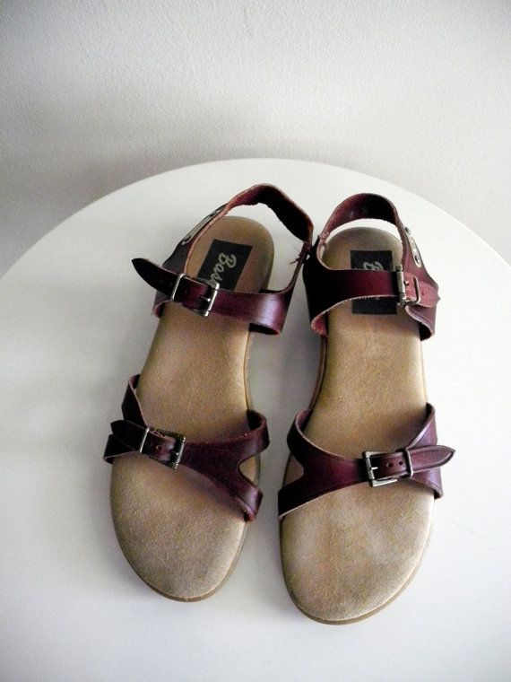 6942860cde7d26 Vintage maroon leather BASS sandals sz. 8