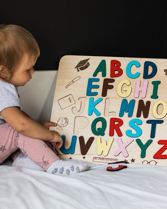 Wooden Puzzle For Toddler Alphabet Letters Busy Board