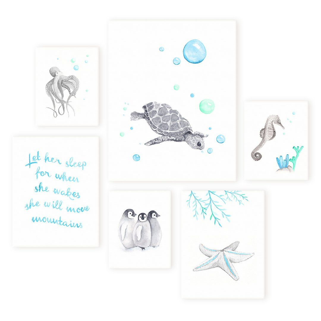 Unique Ocean Themed Set Of Six Canvases
