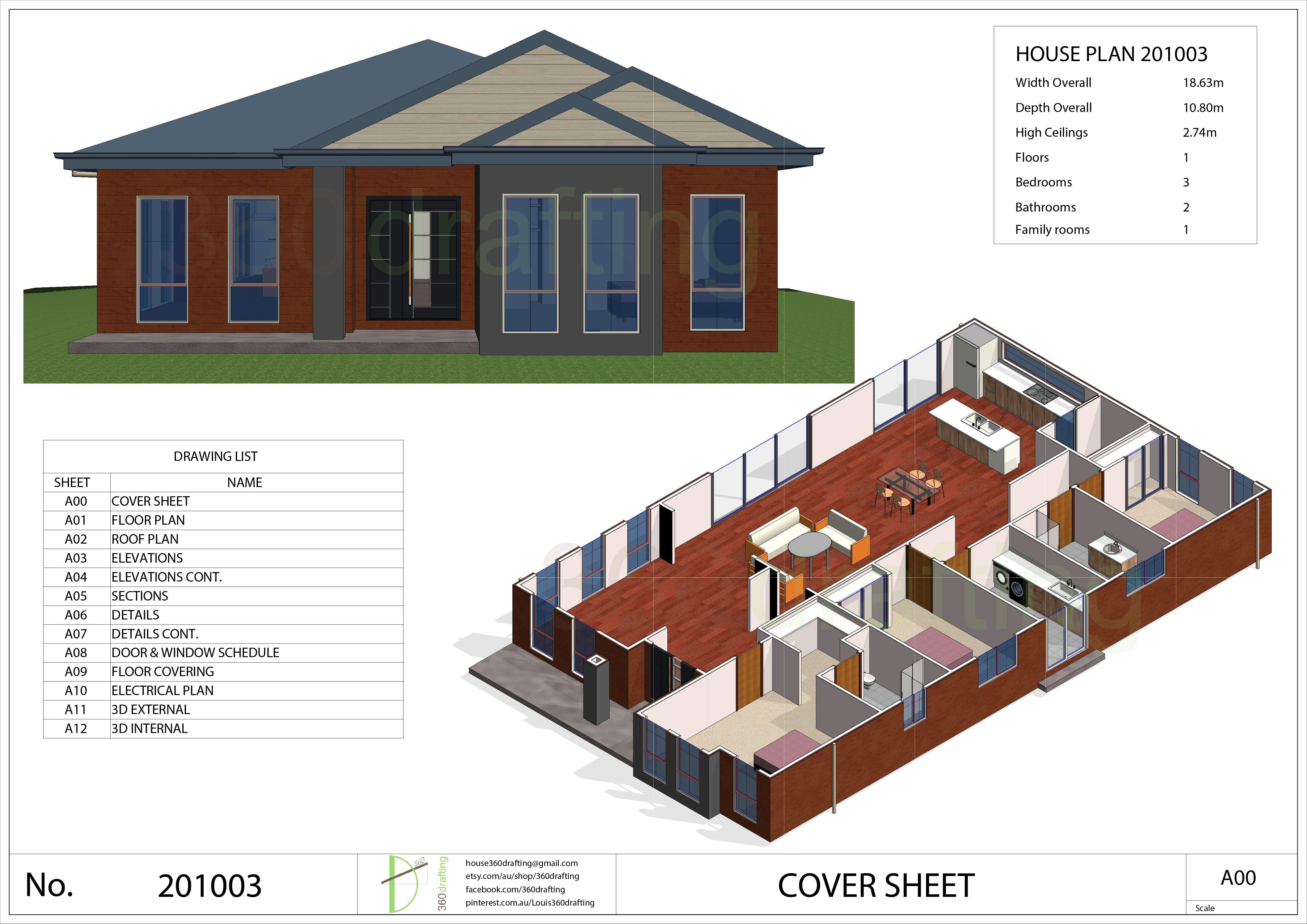 HOUSE PLAN 3 bedrooms 2 bathrooms pdf floor plan instant CUSTOM plans service