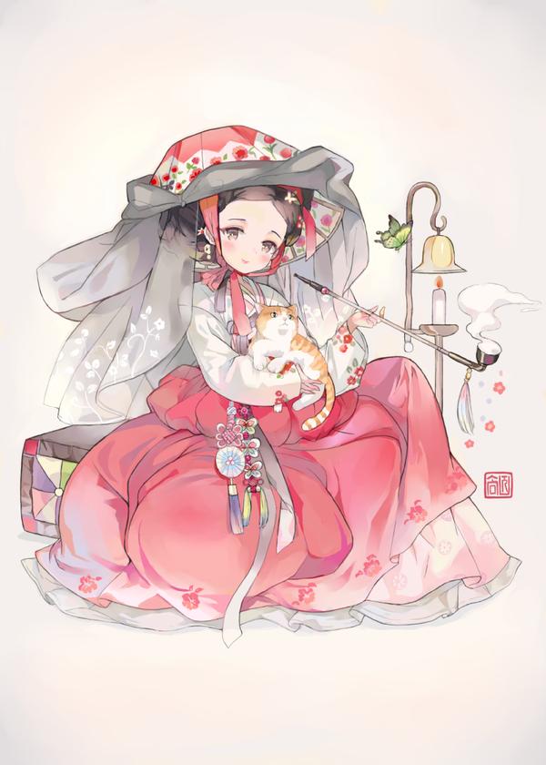 Korean traditional dress hanbok 한국의 미술, 애니메이션 그리는 법