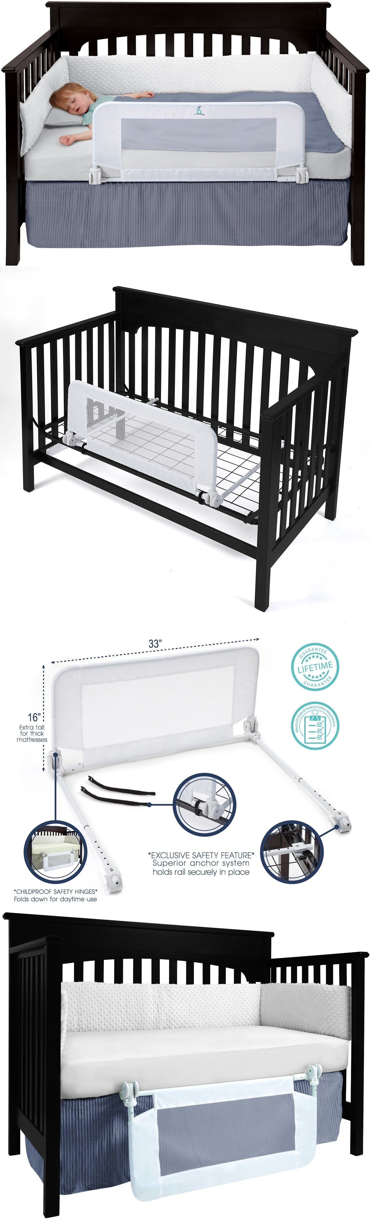 hiccapop convertible crib toddler bed rail guard with reinforced