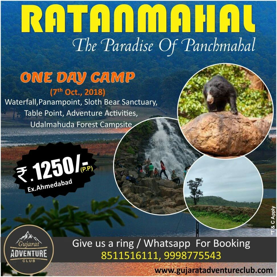 Ratanmahal The Paradise Of Panchmahal One Day Aventure Camp Main Attraction Point Waterfall Panampoint Sloth Adventure Activities Adventure Club Campsite