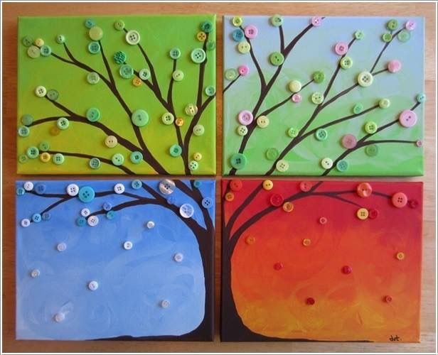 Button Craft Ideas For Kids Part - 41: Image Via: Busted Button Do You Need A Project To Try This Summer? If Yes  Then This Four Seasons Button Tree Is A Great Wall Art To Try And Decorate  Your H