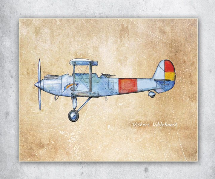 Airplane Decor Old Paper Printable Poster Aircraft Vickers Vildebeest Retro