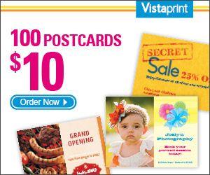 Vistaprint 100 Postcards For 10 Print Coupons Postcard 10