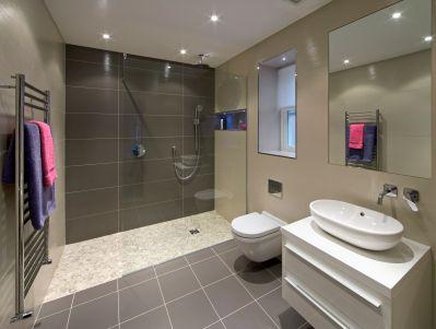 bathroom tile grey - Google Search Bathroom Makeover Pinterest