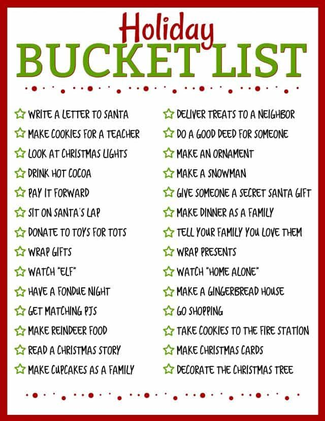 Holiday Bucket List FREE PRINTABLE (Crazy for Crust