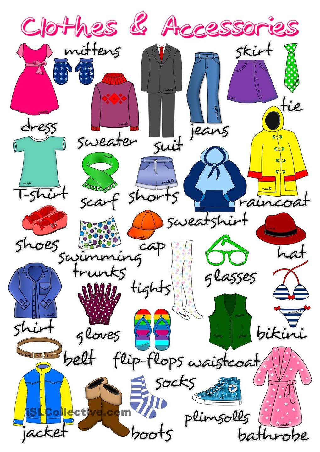 Clothes and accessories - poster | English clothes, Vocabulary clothes,  Learning english for kids