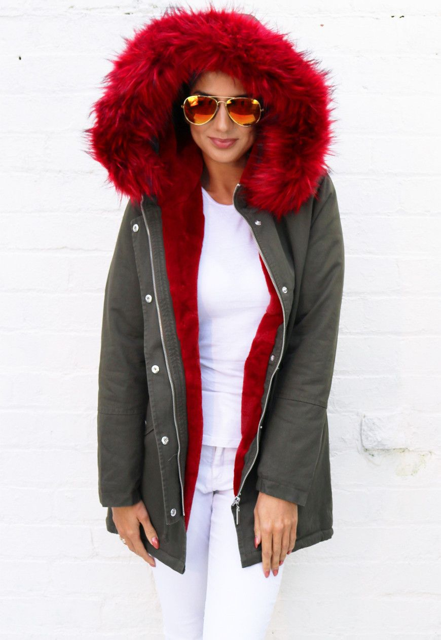 Ferne Faux Fur Trim & Lined Parka in Khaki Green with Red - One ...