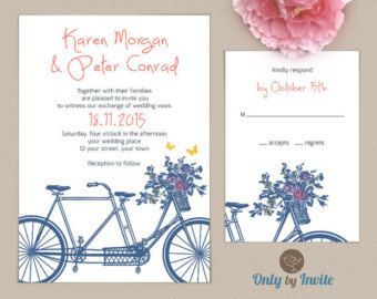 Printable Tandem Bicycle Wedding Invitation Invite Garden Summer