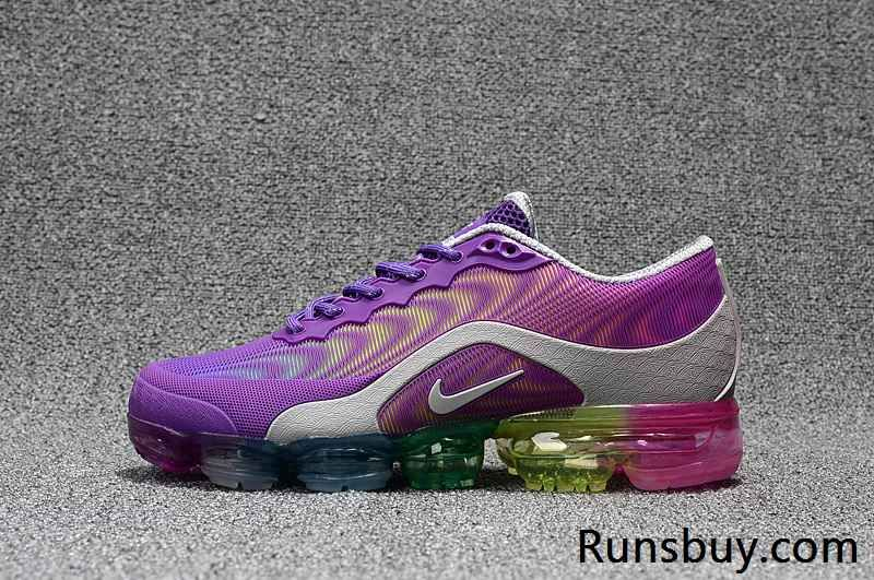 Runs Buy Offer Cheap Sale Christmas Gift Nike Air VaporMax KPU Purple Gray  Rainbow Sole Sneakers,First Hand Factory Direct Sale.