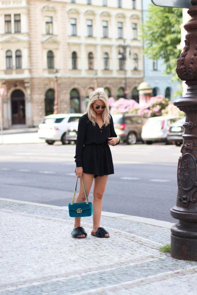 3a93352972a Gucci Marmont Velvet Bag Outfit with fur slides  gucci  marmont  outfit   streetstyle  slides  romper  blonde