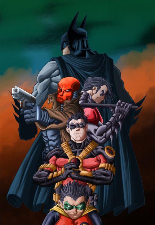 Bruce Wayne, Jason Todd, Dick Grayson, Time Drake, Damien ...