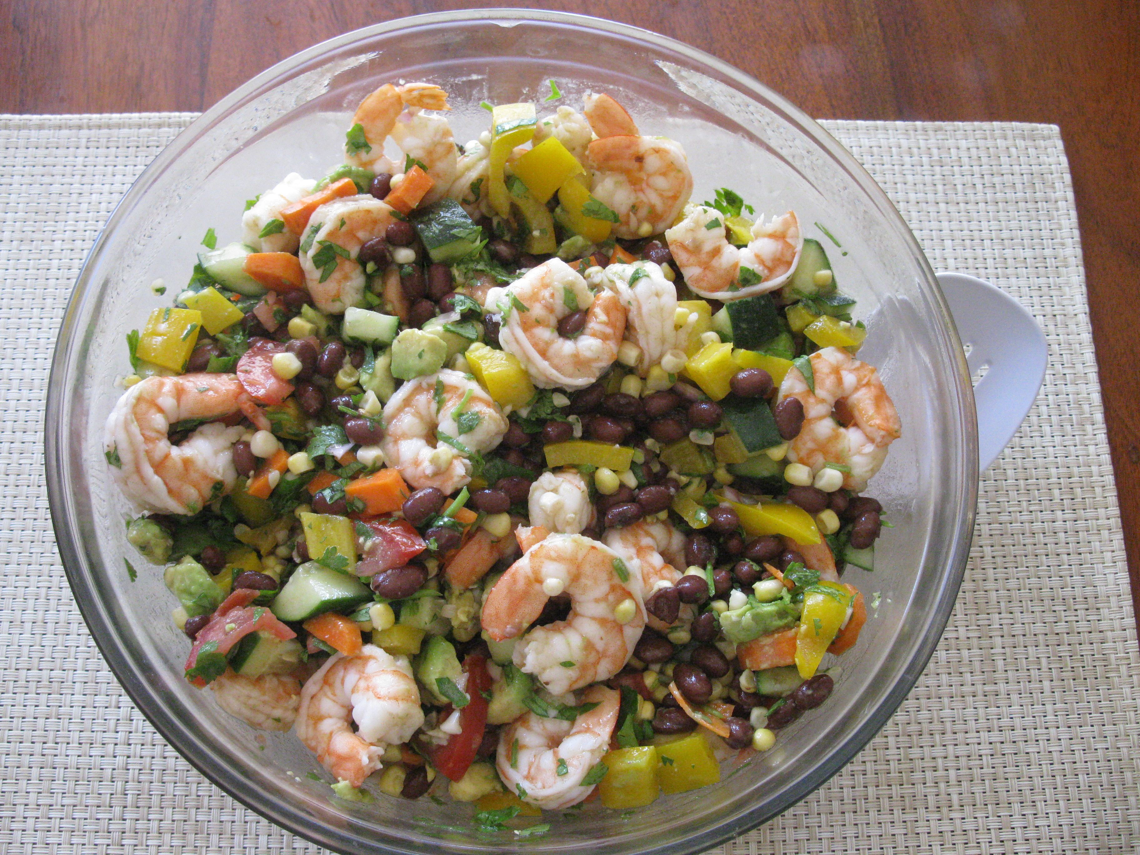Summer Shrimp Salad - Chopped up tomatoes, yellow bell pepper ...
