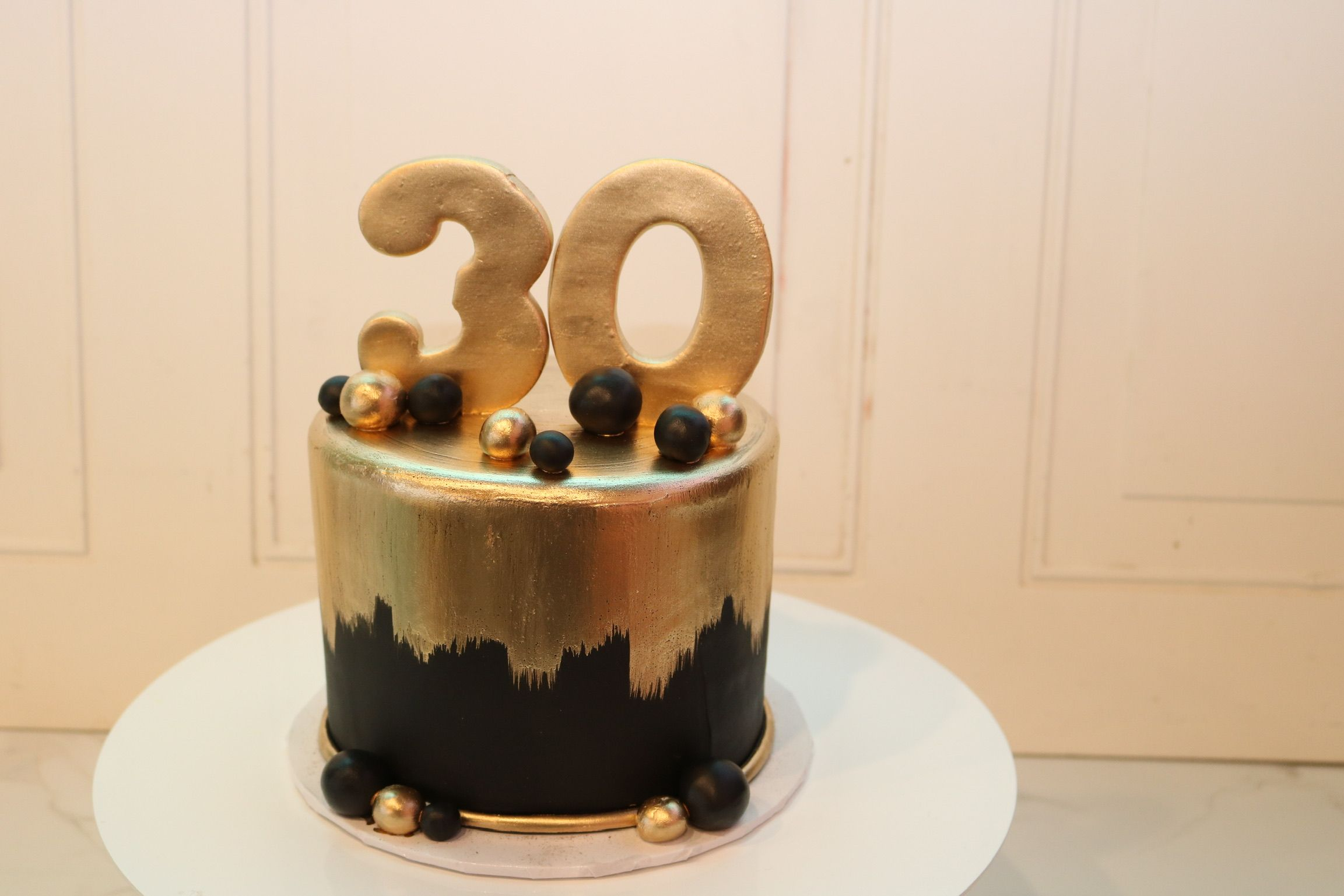 Black And Gold 30th Birthday Cake By 3 Sweet Girls Cakery Black