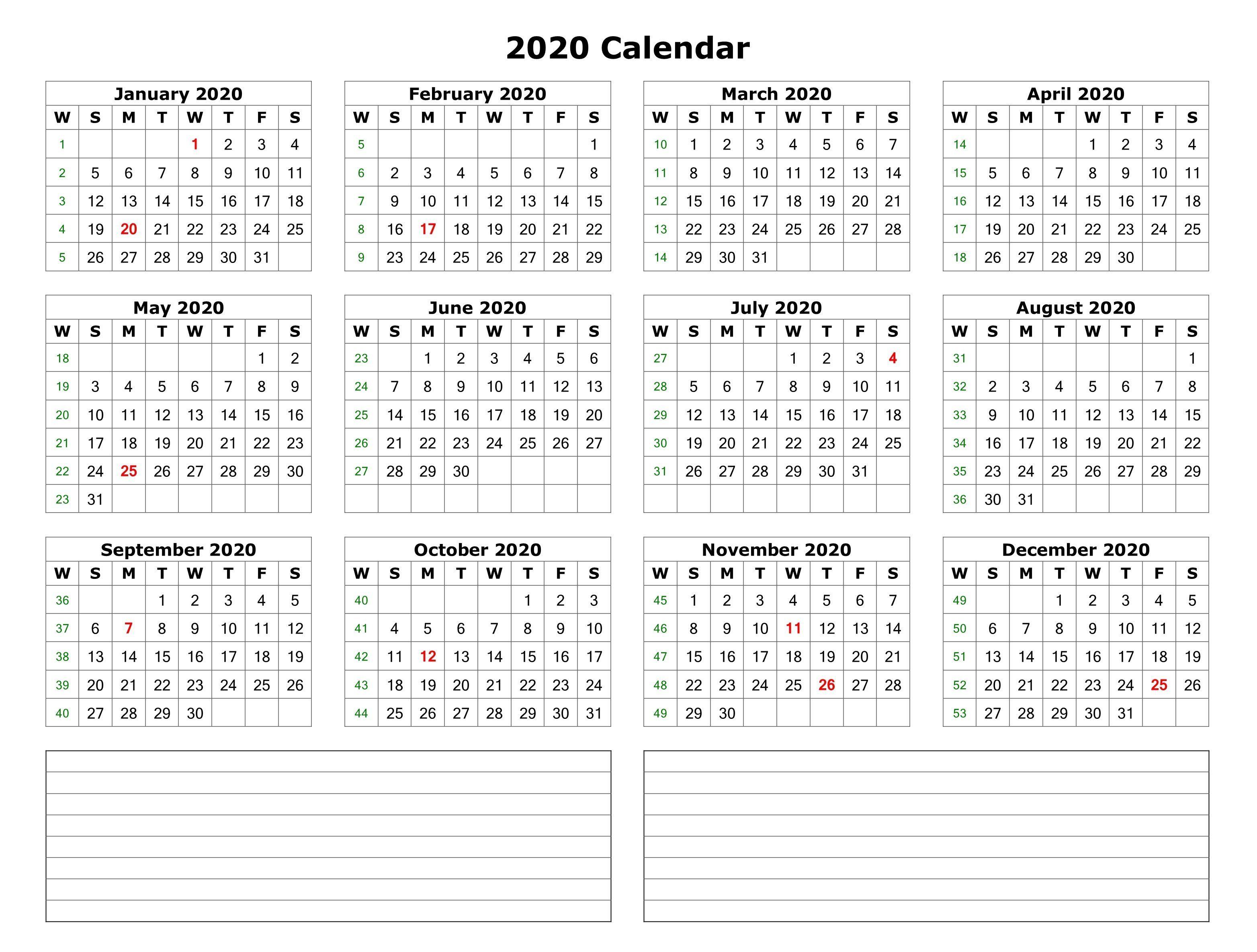 2020 One Page Calendar Printable 12 Month Calendar Printable