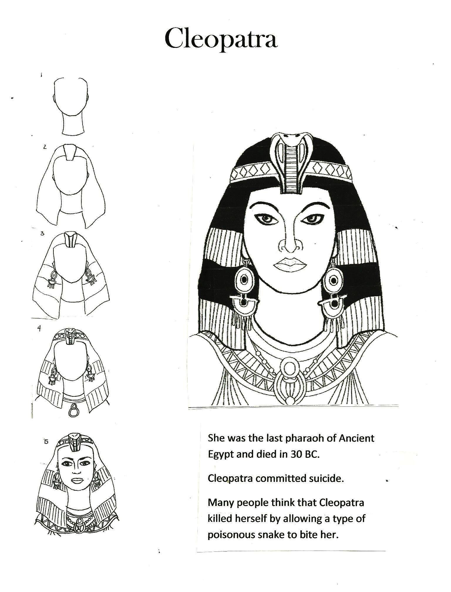 how to draw Cleopatra for kids | School | Pinterest | Nofretete und ...