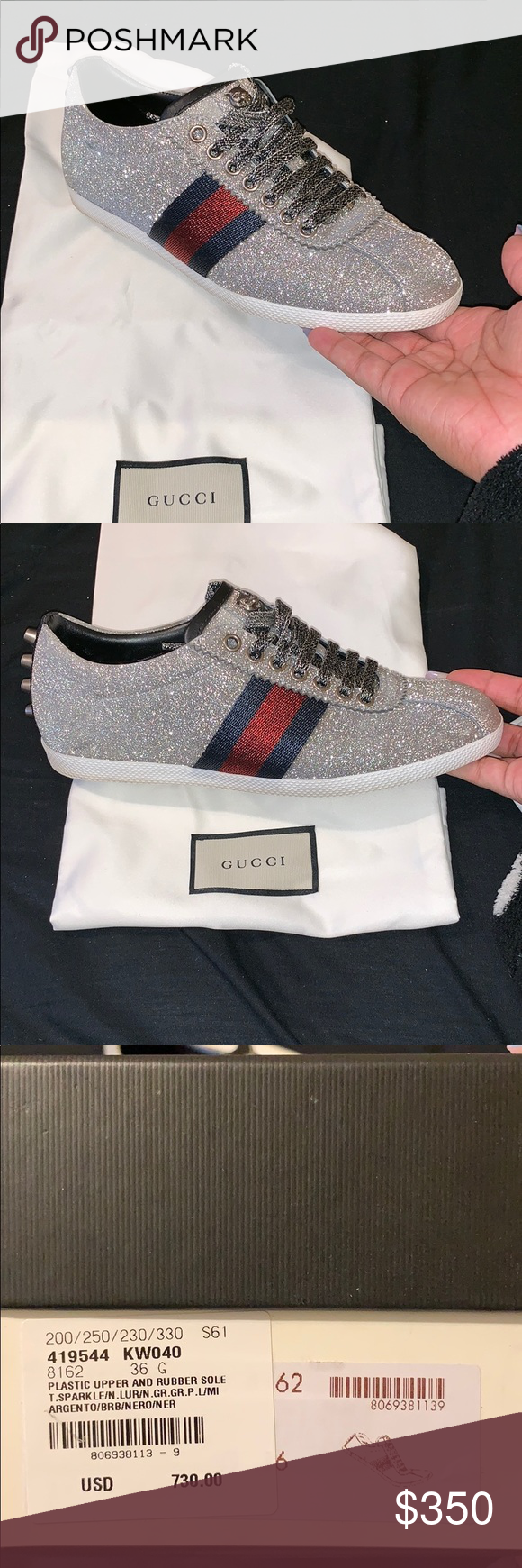 9737a641e Gucci sneakers only worn twice Plastic upper and rubber sole T.sparkle  (navy & red striped) Size 6 Gucci Shoes Sneakers