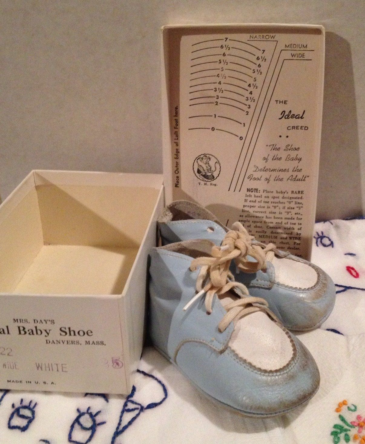 1f219ed2bf597 Vintage Ideal Baby Shoes with box Baby Blue Leather | Baby Be Mine ...