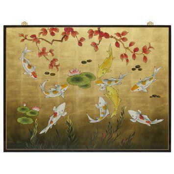 Gold Leaf Prosperity Koi Fish Panel. Chinoiserie wall decor ...