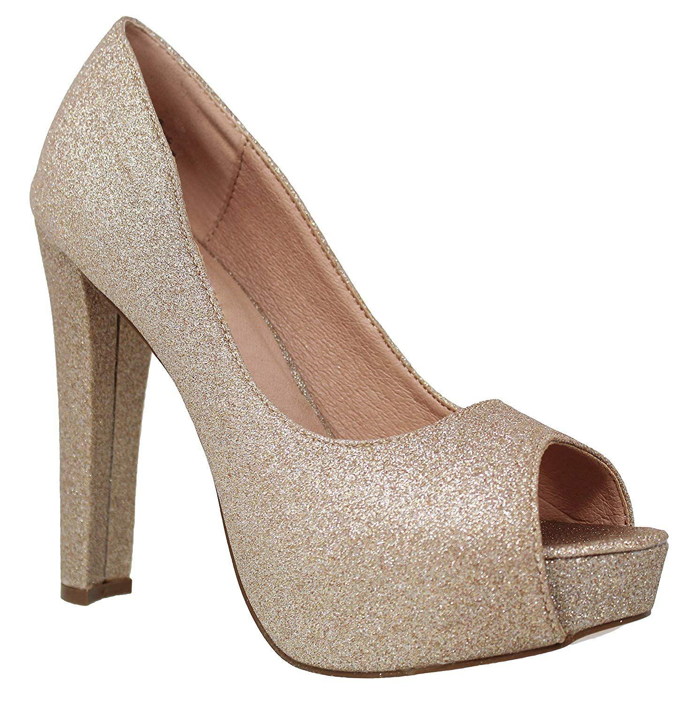 a9ed7639306 MVE Shoes Women Peep Toe Platform Block Heel Pump - Shimmer Party Shoe With  Chunky Heel - Wedding by