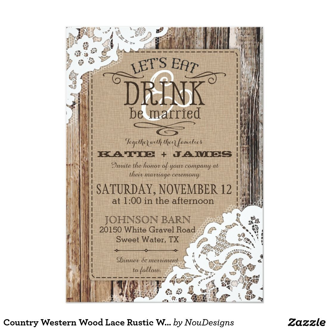 Country Western Wood Lace Rustic Wedding Card | Wedding card ...