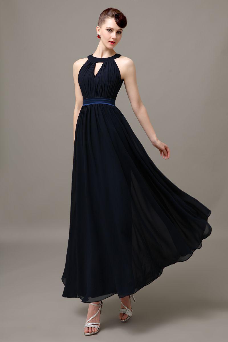 Click to buy ucuc dark navy blue long chiffon formal elegant
