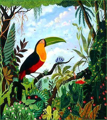 alain thomas peinture na ve primitive art na f pinterest oiseaux jungle et tropical. Black Bedroom Furniture Sets. Home Design Ideas