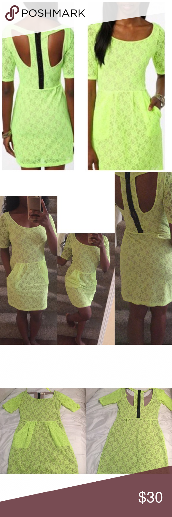 Neon Lace Dress with Pockets Beautiful condition dress. Brand is called Silence + Noise, a line that is distributed by Urban Outfitters. Worn only once. Has cute cutouts in the back and pockets on either side. Urban Outfitters Dresses