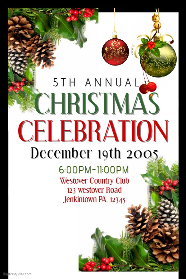 Christmas Celebration Poster Template Christmas Poster Templates