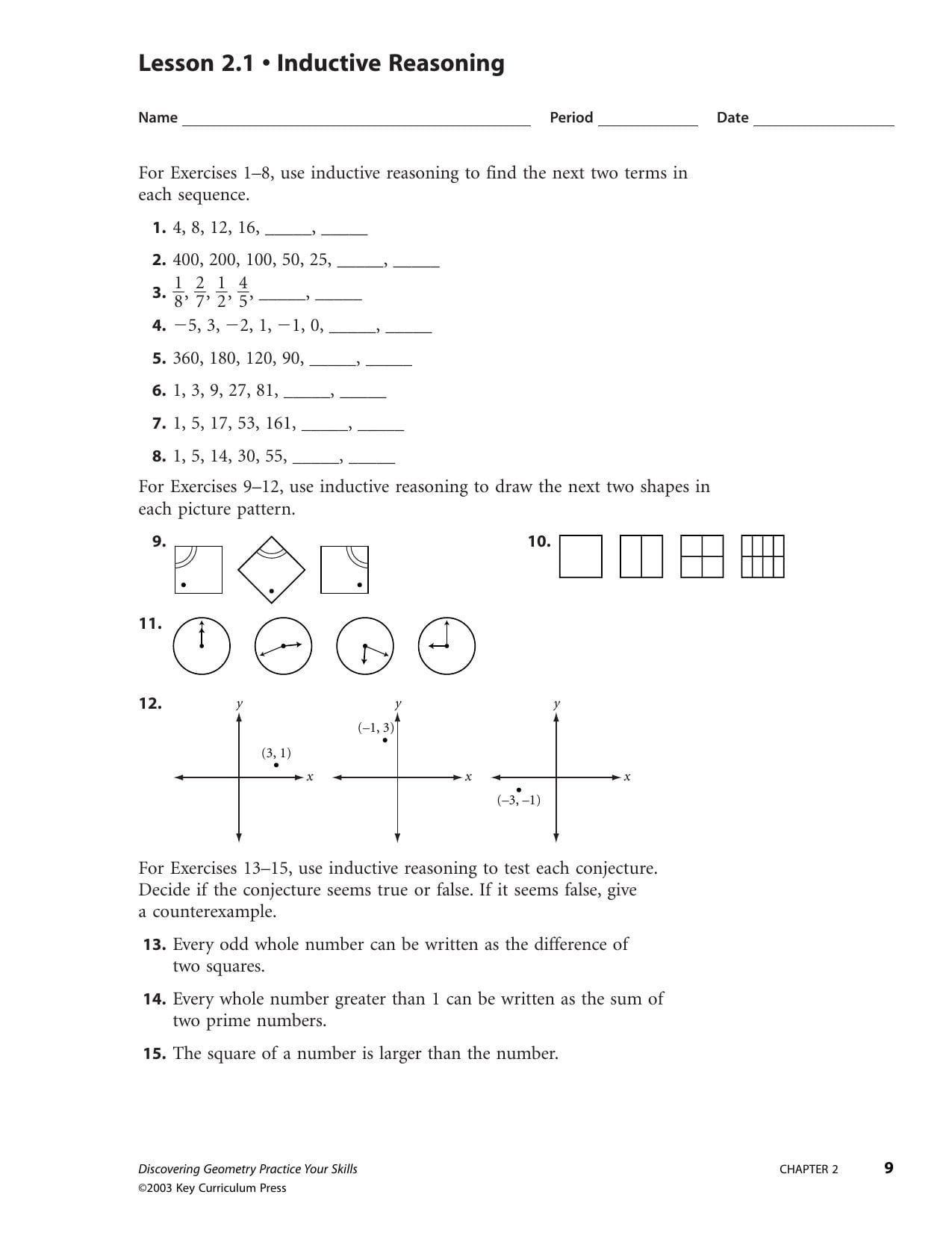 Inductive And Deductive Reasoning Worksheet