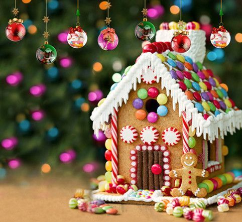 Christmas Gingerbread House Background.Festival Backdrops Christmas Background Winter Photography