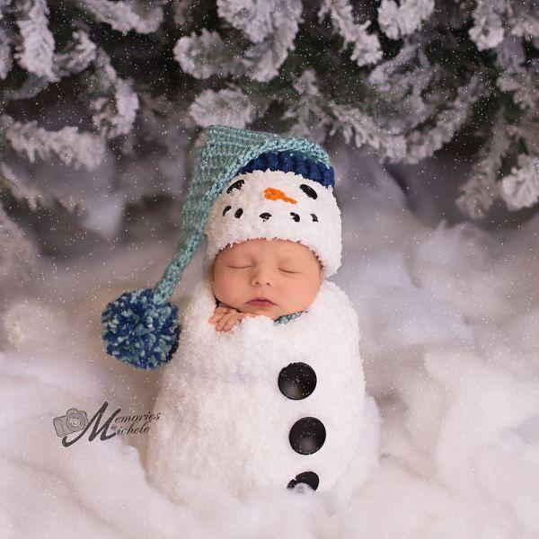 Crochet Newborn Baby Boy Snowman First Christmas Photo