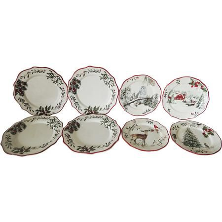 Better Homes and Gardens Plate Set 8 Piece Christmaswinter