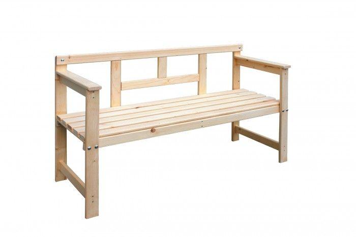 Drevená lavica 120x45x80 cm (prírodná) | OKAY.sk