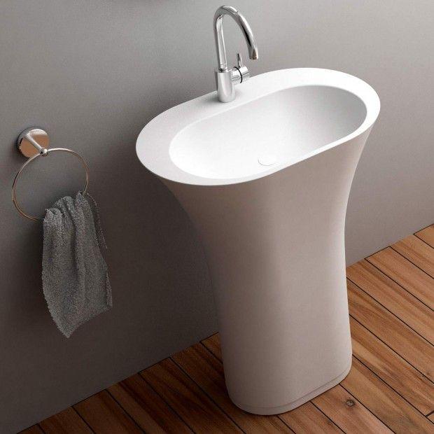 Anya 63cm White Designer Solid Surface Pedestal Wash Basin Basin