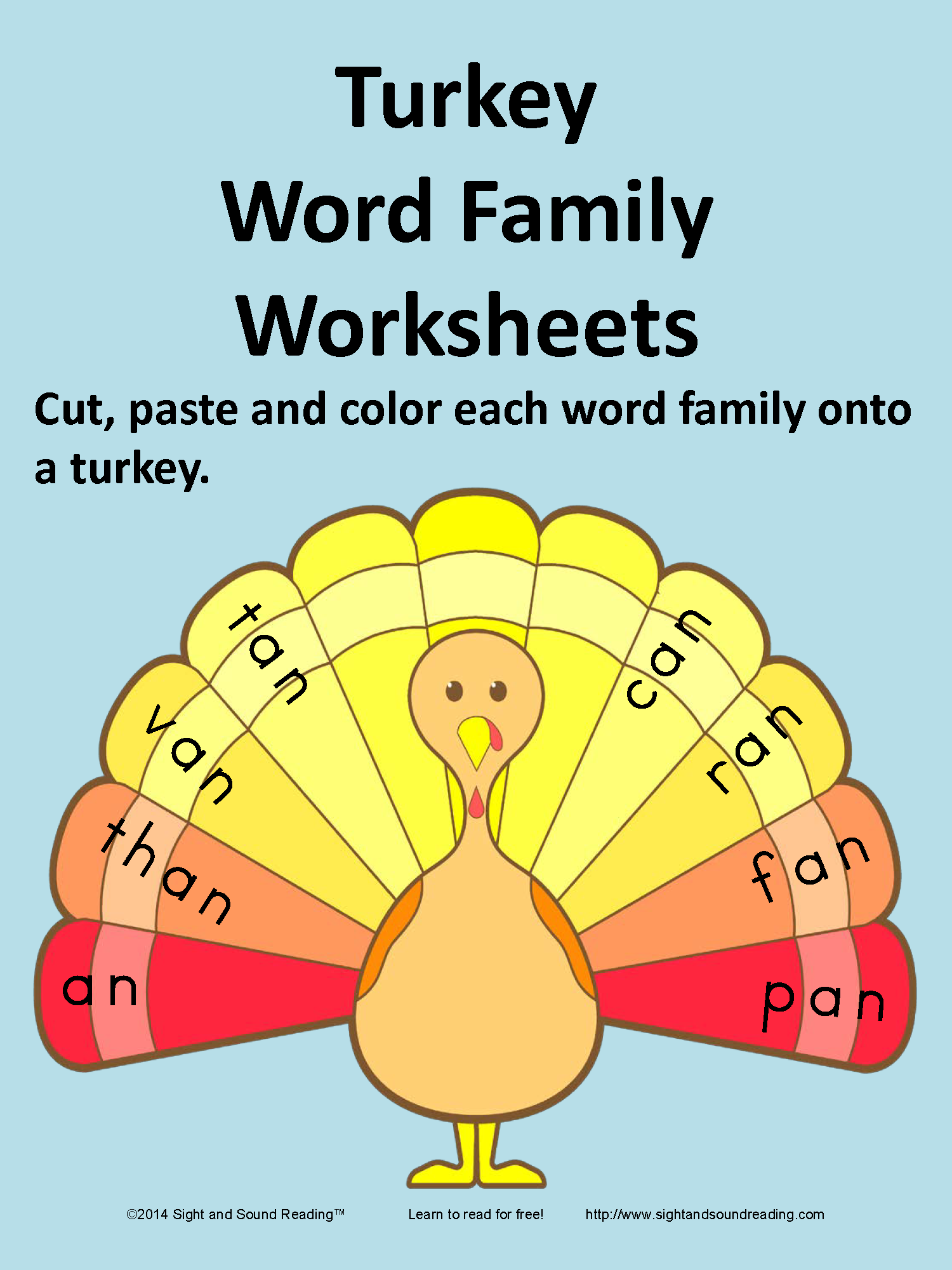 Thanksgiving Word Family Activity For Kindergarten And