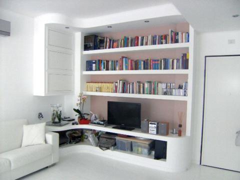 parete tv cartongesso zona giorno e progettazione